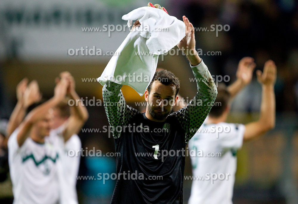 Samir Handanovic of Slovenia after the football match between National Teams of Slovenia and Serbia of UEFA Euro 2012 Qualifying Round in Group C on October 11, 2011, in Stadium Ljudski vrt, Maribor, Slovenia.  Slovenia defeated Serbia 1-0. (Photo by Vid Ponikvar / Sportida)