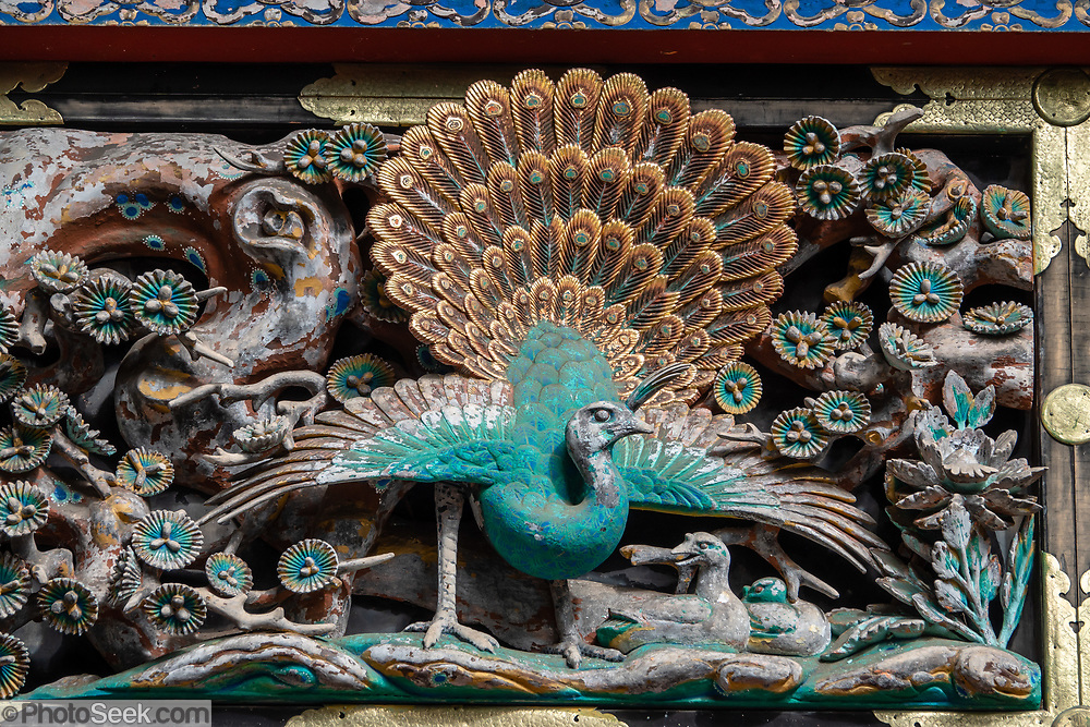"""Ornate peacock carved in wood. Toshogu Shrine is the final resting place of Tokugawa Ieyasu, the founder of the Tokugawa Shogunate that ruled Japan for over 250 years until 1868. Ieyasu is enshrined at Toshogu as the deity Tosho Daigongen, """"Great Deity of the East Shining Light"""". Initially a relatively simple mausoleum, Toshogu was enlarged into the spectacular complex seen today by Ieyasu's grandson Iemitsu during the first half of the 1600s. The lavishly decorated shrine complex consists of more than a dozen buildings set in a beautiful forest. Countless wood carvings and large amounts of gold leaf were used to decorate the buildings in a way not seen elsewhere in Japan. Toshogu contains both Shinto and Buddhist elements, as was common until the Meiji Period when Shinto was deliberately separated from Buddhism. Toshogu is part of Shrines and Temples of Nikko UNESCO World Heritage site."""