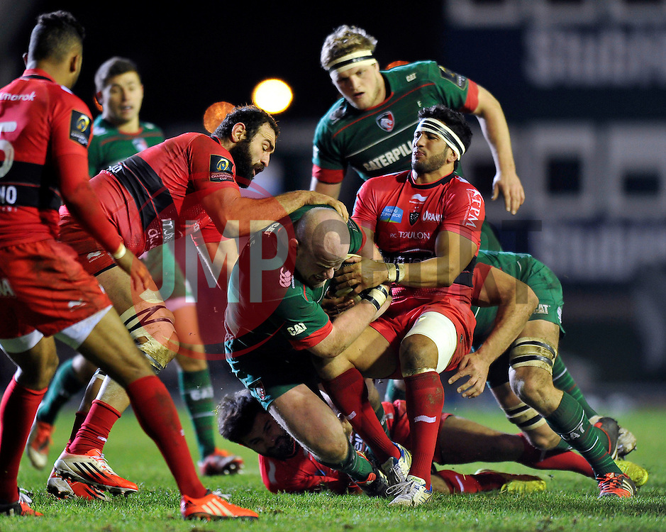 Dan Cole of Leicester Tigers is tackled to ground - Photo mandatory by-line: Patrick Khachfe/JMP - Mobile: 07966 386802 07/12/2014 - SPORT - RUGBY UNION - Leicester - Welford Road - Leicester Tigers v Toulon - European Rugby Champions Cup