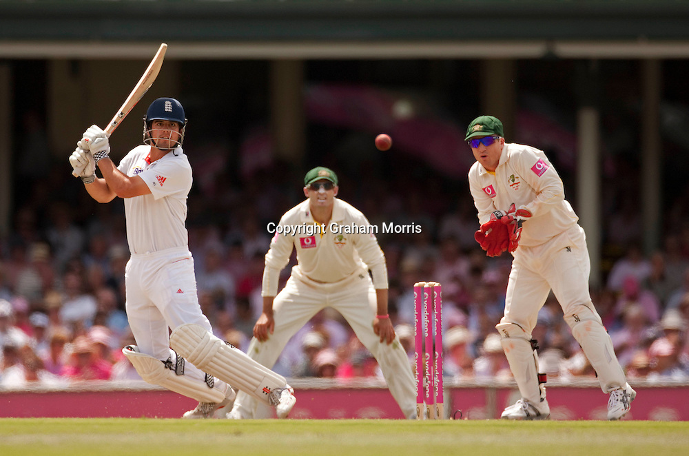 Alastair Cook off Michael Beer as wicket keeper Brad Haddin watches, during his century in the fifth and final Ashes test match between Australia and England at the SCG in Sydney, Australia. Photo: Graham Morris (Tel: +44(0)20 8969 4192 Email: sales@cricketpix.com) 05/01/11