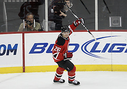Dec 16, 2009; Newark, NJ, USA; New Jersey Devils left wing Patrik Elias (26) celebrates his game winning goal during the third period of their game against the Montreal Canadiens at the Prudential Center. The Devils won 2-1.