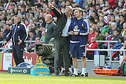 Sunderland Manager Sam Allardyce  during the Barclays Premier League match between Sunderland and Leicester City at the Stadium Of Light, Sunderland, England on 10 April 2016. Photo by Simon Davies.