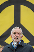 "Jeremy Corbin, the last speaker, adresses an enthusioastic audience - A CND led national demonstration to protest against Britain's nuclear weapons system: Trident. They state - ""The majority of the British people, including the Labour leader Jeremy Corbyn, oppose nuclear weapons. They are weapons of mass destruction, they don't keep us safe and they divert resources from essential spending."" The march from Hyde park to Trafalgar Square was supported by Friends of the Earth, the Green party, Greenpeace, the PCS Union, the Quakers, the Stop the War Coalition, War on Want amongst amny others."
