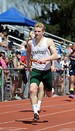Pennridge's Quinn Tompkins wins his heat in the 4x100 relay at the Central Bucks West Relays Saturday April 18, 2015 in Doylestown, Pennsylvania.  (Photo by William Thomas Cain/Cain Images)