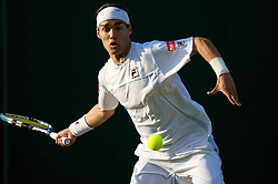 LONDON, ENGLAND - Monday, June 23, 2008: Fabio Fognini (ITA) in action during his first round match on day one of the Wimbledon Lawn Tennis Championships at the All England Lawn Tennis and Croquet Club. (Photo by David Rawcliffe/Propaganda)