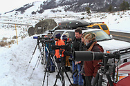 People watching wolves in winter in the Lamar Valley of Yellowstone National Park