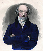 George Canning (1770-1827) British statesman. On the resignation of Lord Liverpool in 1827 Canning became Prime Minister but died the same year. Hand-coloured engraving.