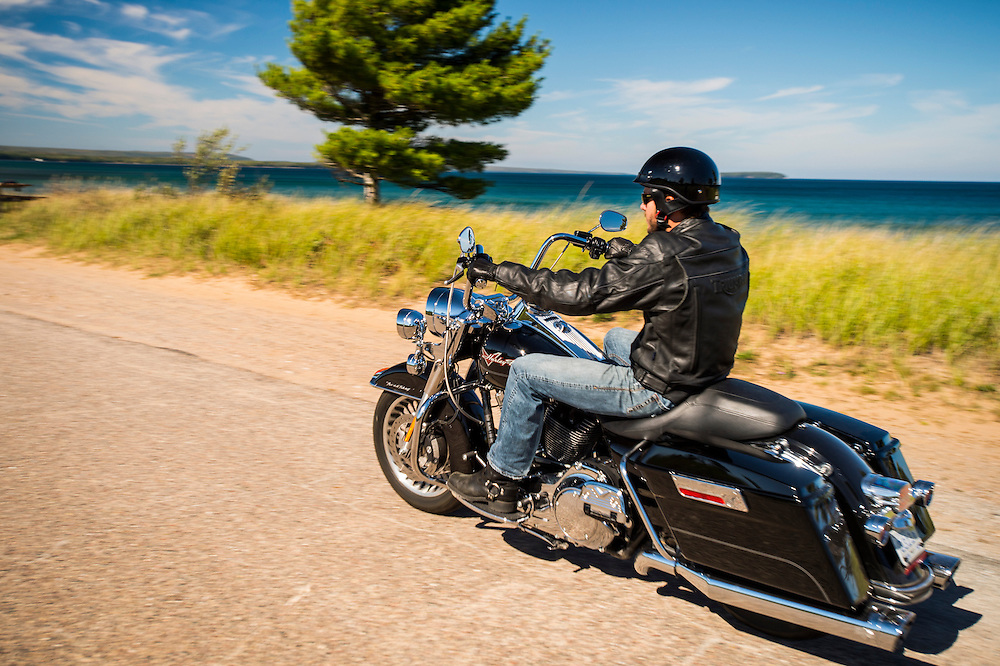 Motorcycle touring along Lake Superior on Michigan's Upper Peninsula near Munising and Marquette, Michigan.