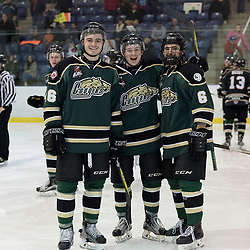 KINGSTON, ON - MAR 9,  2017: Ontario Junior Hockey League, playoff game between the Cobourg Cougars and Kingston Voyageurs, Mac Lowry #46 of the Cobourg Cougars, Connor MacEachern #9 of the Cobourg Cougars &amp; Jordan DiCicco #6 of the Cobourg Cougars.<br /> (Photo by Ian Dixon/ OJHL Images)