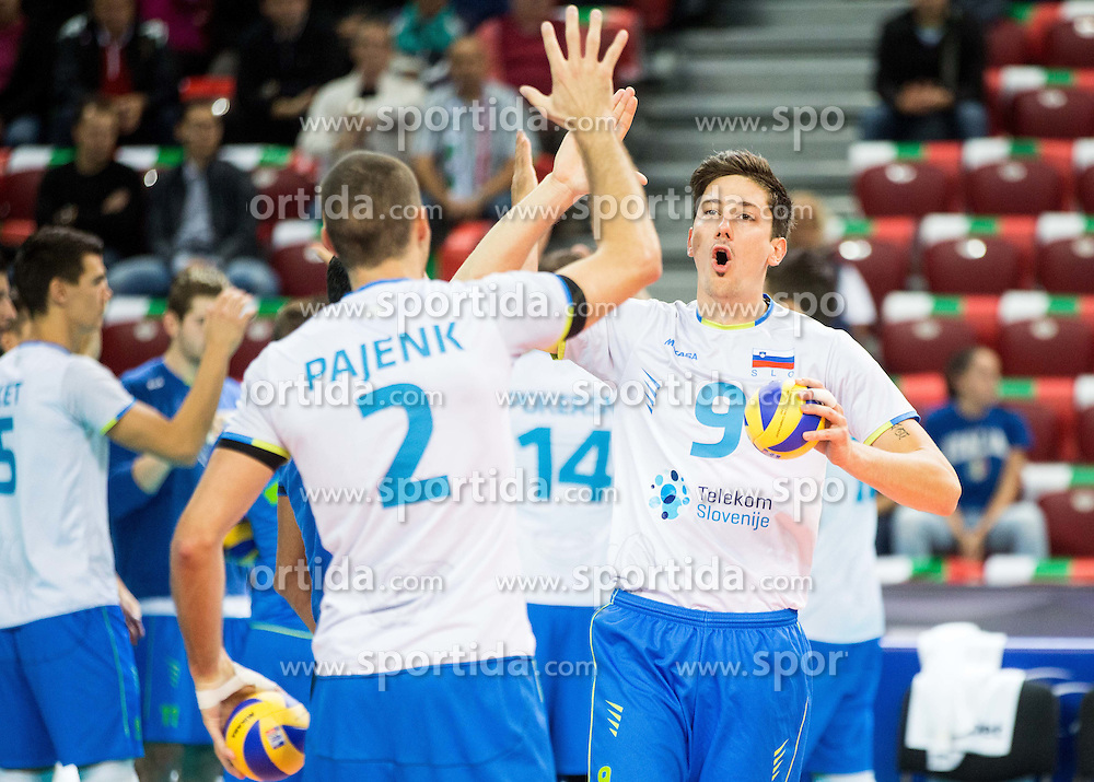 Alen Pajenk #2 of Slovenia, Dejan Vincic #9 of Slovenia during volleyball match between National teams of Slovenia and Italy in 1st Semifinal of 2015 CEV Volleyball European Championship - Men, on October 17, 2015 in Arena Armeec, Sofia, Bulgaria. Photo by Vid Ponikvar / Sportida