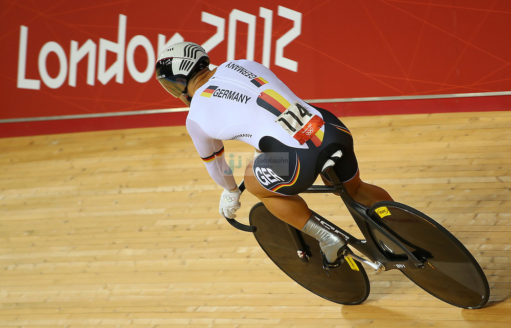 Robert Forstemann of Germany rides around the track after racing in  the men's cycling sprint finals at the velodrome during day 6 of the London Olympic Games in London, England, United Kingdom on August 2, 2012..(Jed Jacobsohn/for The New York Times)..