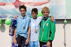 Mihai Serban (ROM), Matjaz Rozman and Tobija Ponikvar of Ilirija during 10th International Swimming Competition Veronika 2011, on July 16, 2011, in Pod skalco pool, Kamnik, Slovenia. (Photo by Vid Ponikvar / Sportida)