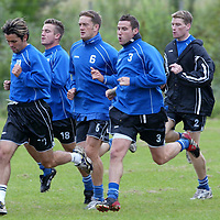 St Johnstone training...20.09.02<br />Ex- Ross County player Ian Maxwell looking forward to meeting his old team tommorrow, pictured with Paul Hartley, Keigan Parker, Stuart McCluskey and Darren Dods<br /><br /><br />Picture by Graeme Hart.<br />Copyright Perthshire Picture Agency<br />Tel: 01738 623350  Mobile: 07990 594431