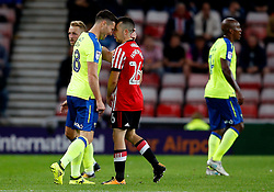 David Nugent of Derby County squares up to George Honeyman of Sunderland - Mandatory by-line: Matt McNulty/JMP - 04/08/2017 - FOOTBALL - Stadium of Light - Sunderland, England - Sunderland v Derby County - Sky Bet Championship