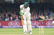 Haris Sohail of Pakistan edges off the bowling of Mark Wood on DAy Two of the NatWest Test Match match at Lord's, London<br /> Picture by Simon Dael/Focus Images Ltd 07866 555979<br /> 25/05/2018
