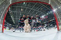 KELOWNA, CANADA - DECEMBER 1:  Conner Bruggen-Cate #20, Mark Liwiski #9, Michael Farren #16 and Erik Gardiner #11 of the Kelowna Rockets pose in front of the netcam against the Saskatoon Blades on December 1, 2018 at Prospera Place in Kelowna, British Columbia, Canada.  (Photo by Marissa Baecker/Shoot the Breeze)
