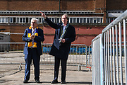 Chief Executive Erik Samuelson (r) and Council Leader Stephen Alambritis (l) look over the new site for AFC Wimbledon's new home ground during the AFC Wimbledon Demolition Event, marking the start of building works at the AFC Wimbledon Stadium Site, Plough Lane, United Kingdom on 16 March 2018. Picture by Stephen Wright.