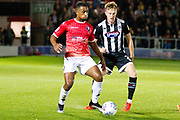 Salford City defender Ibou Touray in possession of the ball                                           during the EFL Sky Bet League 2 match between Salford City and Grimsby Town FC at Moor Lane, Salford, United Kingdom on 17 September 2019.