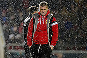 A forlorn looking MK Dons manager Karl Robinson during the The FA Cup match between Northampton Town and Milton Keynes Dons at Sixfields Stadium, Northampton, England on 9 January 2016. Photo by Dennis Goodwin.