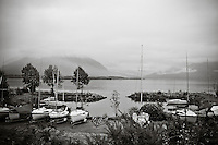 Sailboats on trailers in a harbor, Kaikoura. Seascapes photography prints for sale. Fine art photography prints, wall art, stock images.