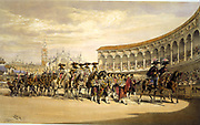 Entry of the toreros in procession.  Lake Price (c1810-1896) English artist.Bullfighters processing in the stadium at Seville, Spain. Corrida Matador Tradition Costume Blood Sport Spectacle