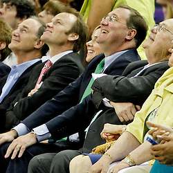April 15, 2012; New Orleans, LA, USA; (From right to left) New Orleans Hornets newly named owner Tom Benson along with New Orleans Saints, Executive Vice President/Chief Financial Officer Dennis Lauscha his wife Jennifer, Hornets president Hugh Weber and NBA governor Jac Sperling  lookup to the scoreboard during the final minute of the fourth quarter of a game against the Memphis Grizzlies at the New Orleans Arena. The Hornets defeated the Grizzlies 88-75.  Mandatory Credit: Derick E. Hingle-US PRESSWIRE