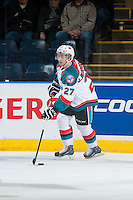 KELOWNA, CANADA - JANUARY 16: Josh Morrissey #27 of Kelowna Rockets skates with the puck against the Seattle Thunderbirds on January 16, 2015 at Prospera Place in Kelowna, British Columbia, Canada.  (Photo by Marissa Baecker/Shoot the Breeze)  *** Local Caption *** Josh Morrissey;