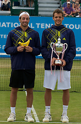 LIVERPOOL, ENGLAND - Saturday, June 19, 2010: Men's Champion Paul-Henri Mathieu (FRA) with runner-up Nicolas Massu (CHI) after the Men's Singles Final on day four of the Liverpool International Tennis Tournament at Calderstones Park. (Pic by David Rawcliffe/Propaganda)