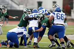 15 November 2014:  Will James & Connor Klein during an NCAA division 3 football game between the North Park Vikingsand the Illinois Wesleyan Titans in Tucci Stadium on Wilder Field, Bloomington IL