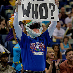 Oct 10, 2009; New Orleans, LA, USA;  A Florida Gators football fan watches courtside during a preseason game between the New Orleans Hornets and the Oklahoma City Thunder at the New Orleans Arena. The Hornets defeated the Thunder 88-79. Mandatory Credit: Derick E. Hingle-US PRESSWIRE