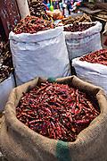 Dried red hot cayenne chili pepper at Benito Juarez market in Oaxaca, Mexico.