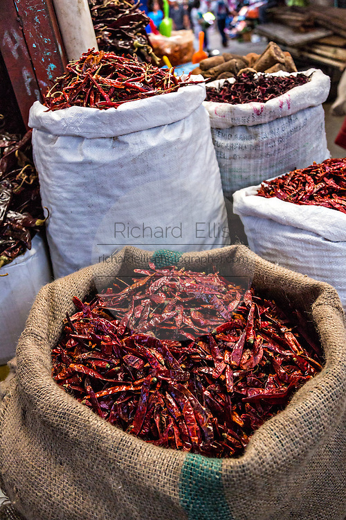 Dried red hot cayenne chili pepper at Benito Juarez market in Oaxaca, Mexico.