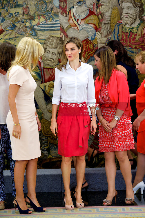 Queen Letizia of Spain attends an audience at Palacio de la Zarzuela on July 28, 2014 in Madrid