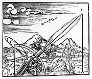 Gunner firing a cannon. The path of the projectile is shown according to Aristotelian physics. Since he believed that no body could undertake more than one motion at a time, the path had to consist of two separate motions in a straight line. From Daniele Santbech 'Problematum Astronomicorum' Basle 1561. Woodcut