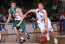 Goran Dragic of Union Olimpija and Jure Mocnik (R) of Helios Domzale during the final match of Spar Cup 2007-08 between Union Olimpija, Ljubljana, Slovenia, and Helios Domzale, Slovenia, on February 10, 2008, in Arena Kodeljevo, Ljubljana, Slovenia. Match and Cup was won by Union Olimpija, who defeated Helios Domzale in final match with 85:66. (Photo by Vid Ponikvar / Sportal Images).