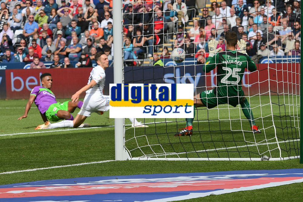 Football - 2018 / 2019 Sky Bet EFL Championship - Swansea City vs. Bristol City<br /> <br /> Niclas Eliasson of Britol City shoots at goal but his shot issued by Erwin Mulder of Swansea City, at Liberty Stadium.<br /> <br /> COLORSPORT/WINSTON BYNORTH