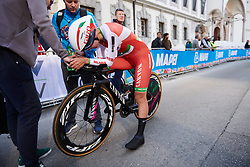 Alena Amialiusik (BLR) arrives in the finish area at UCI Road World Championships 2018 - Elite Women's ITT, a 27.7 km individual time trial in Innsbruck, Austria on September 25, 2018. Photo by Sean Robinson/velofocus.com