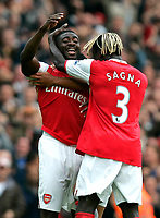 Photo: Tom Dulat.<br /> Arsenal v Bolton Wanderers. The FA Barclays Premiership. 20/10/2007.<br /> Kolo Toure(L) celebrates his goal for Arsenal. In the picture together with his team mate Bacary Sagna