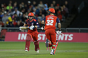 Lancashire Lightnings Alex Davies & Lancashire Lightnings Glenn Maxwell run between the wicket  during the Vitality T20 Blast North Group match between Lancashire Lightning and Leicestershire Foxes at the Emirates, Old Trafford, Manchester, United Kingdom on 30 August 2019.