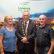 10.10. 2017.          <br /> Pictured at the Limerick Going for Gold 2017 finals in the Strand Hotel were, Mayor of the City and County of Limerick Cllr Stephen Keary with Betty and Michael Leonard, Glenosheen.<br /> <br /> <br /> Limerick Going for Gold, which is sponsored by the JP McManus Charitable Foundation, has a total prize pool of over €75,000.  It is organised by Limerick City and County Council and supported by Limerick's Live 95FM, The Limerick Leader and The Limerick Chronicle, The Limerick Post, Parkway Shopping Centre, I Love Limerick and Southern Marketing Media & Design. Picture: Alan Place