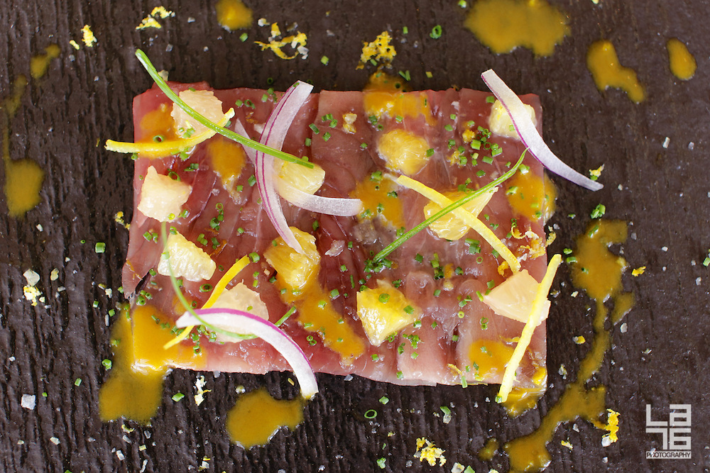 Tuna Tiradito, Red Onion, Citrus Segments and Ají Amarillo
