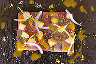 Tuna Tiradito, Red Onion, Citrus Segments and Ají Amarillo