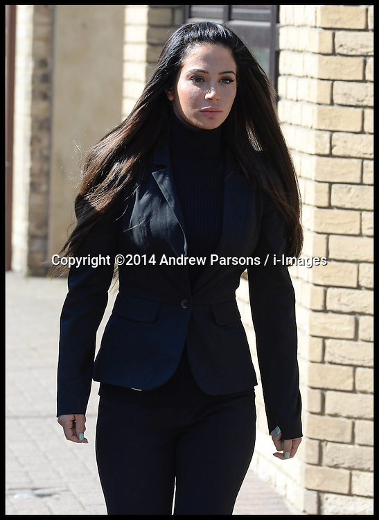 Tulisa Contostavlos arrives to give evidence at day two of her assault trial. She is accused of hitting celebrity blogger Savvas Morgan at the V Festival in Chelmsford, Essex, last year. Chelmsford Magistrates Court, Tuesday, 20th May 2014. Picture by Andrew Parsons / i-Images