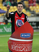 Canterbury Wizards player Todd Astle during the State Twenty20 uniform launch held during the break in innings at the first Twenty20 match between the New Zealand Black Caps and Sri Lanka held at Westpac Stadium in Wellington, New Zealand on Friday, 22 December 2006. Sri Lanka won the match on Duckworth Lewis calculations. Photo: Tim Hales/PHOTOSPORT