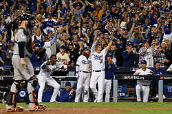 October 31, 2017 - Los Angeles, CA, USA - Los Angeles Dodgers bench reacts after Chris Taylor doubles to tie the game in the 6th inning of game six of a World Series baseball game at Dodger Stadium on Tuesday, Oct. 31, 2017 in Los Angeles. (Credit Image: © Keith Birmingham/Los Angeles Daily News via ZUMA Wire)