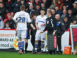 SHEFFIELD, ENGLAND - Saturday, March 17, 2012: Tranmere Rovers' Jake Cassidy prepares to make his debut replacing Ryan Brunt against Sheffield United during the Football League One match at Bramall Lane. (Pic by David Rawcliffe/Propaganda)