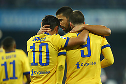 December 1, 2017 - Naples, Italy - Gonzalo Higuain, Sami Khedira and Paulo Dybala of Juventus celebration after scoring the goal of 0-1 during the Serie A match between SSC Napoli and Juventus at Stadio San Paolo on December 1, 2017 in Naples, Italy. (Credit Image: © Matteo Ciambelli/NurPhoto via ZUMA Press)