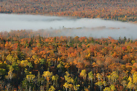 A band of morning fog over the valley near Copper Harbor,<br /> Michigan's Upper Peninsula