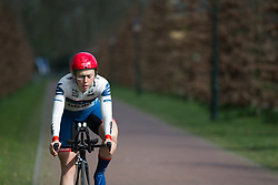 Lisa Klein (GER) of Cervélo-Bigla Cycling Team prepares for fast and sharp corner during Stage 1a of the Healthy Ageing Tour - a 16.9 km time trial, starting and finishing in Leek on April 5, 2017, in Groeningen, Netherlands.