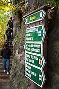 Wanderweg Wegweiser, Bastei, Sächsische Schweiz, Elbsandsteingebirge, Sachsen, Deutschland | walking track signs, Bastei, Saxon Switzerland, Saxony, Germany